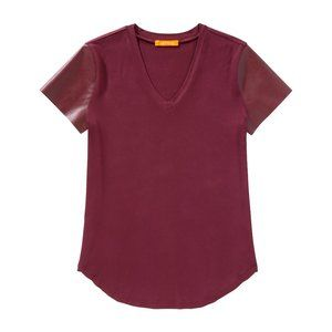 Joe Fresh Burgundy Faux Leather Sleeve T-Shirt